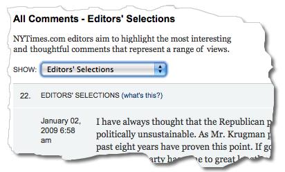 meny visar redaktionens val bland kommentarerna
