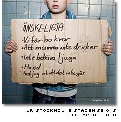 stadsmissionens annons till förmån för stockholms hemlösa