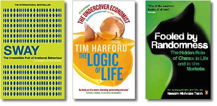 omslag till böckerna Sway och The logic of life och Fooled by randomness