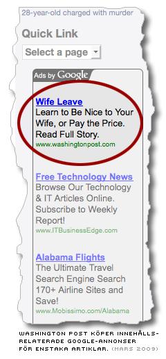 google-ad där Washington Post köpt sökord kopplade till en enstaka artikel i tidningen