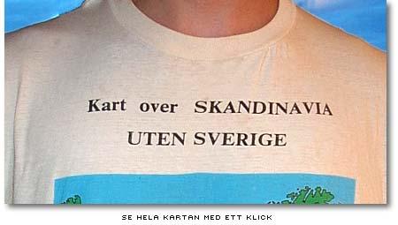 Norsk t-tröja med karta över Skandinavien utan Sverige