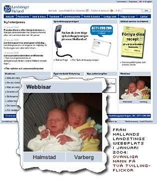 bild av två nyfödda tvillingflickor med etiketterna Halland och Varberg