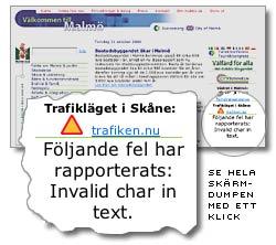 Malmös webbplats med felmeddelande om trafikläget