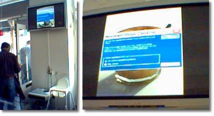 Restaurangens slideshow döljs av dialogrutan med uppmaningen att uppdatera virusskyddet