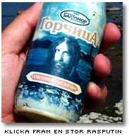 Ett proträtt av Rasputin pryder en rysk senapsburk