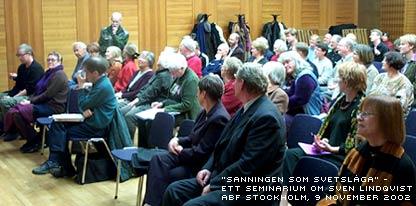 Deltagare på seminariet om Sven Lindqvists författarskap hos ABF i november 2002
