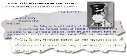 Dokument från spanska sjukan i USA 1918