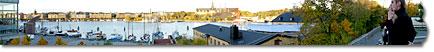 Panorama över Strandvägen-Djurgården-Skeppsholmen från Moderna Museets balkong