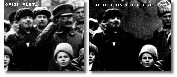 Bild på Lenin och Trotskij och den retuscherade kopian med Trotskij utsuddad