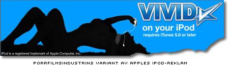 Porrfilmindustrins variant av apples ipod-reklam - en naken kvinnosilhuett i erotisk pose med ipodpluggar i öronen