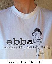 """T-shirt med teckningen av Ebba och texten """"Enklare blir bättre, alltså"""""""